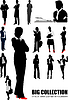 Vector clipart: Big collection of business woman silhouettes.