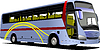 Vector clipart: Blue tourist or City bus on road. Coach