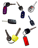 Vector clipart: Big collection of ignition car keys with remote control
