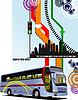 Abstract hi-tech background with city bus image.