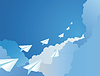 Vector clipart: Paper airplanes in sky