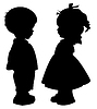 Vector clipart: Silhouettes of children