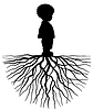 Vector clipart: Child with root