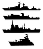 ID 3279668 | War ships silhouettes | Stock Vector Graphics | CLIPARTO