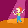 Vector clipart: Boy singing