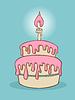 生日蛋糕 | 向量插图
