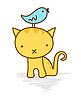 Vector clipart: Cute bird sitting on cat`s head