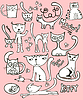 Векторный клипарт: детские рисунки-каракули с кошками
