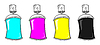 Vector clipart: CMYK graffiti spray cans