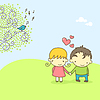 Vector clipart: Cute couple in love