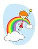 Vector clipart: Fairy over rainbow