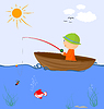 Vector clipart: Cartoon fisherman in boat