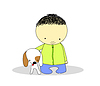 Vector clipart: kid with dog