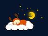 Vector clipart: Reindeer sleeping on cloud
