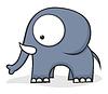 大眼睛的大象 | 向量插图
