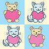 Lovers cartoon cats set | Stock Vector Graphics