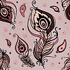 Vector clipart: Peacock feather seamless pattern