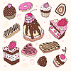 Vector clipart: Set of cute cake