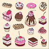Vector clipart: Set of cute cakes