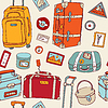 Travel seamless background. Suitcases and bags