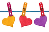 Color paper hearts hung on clothesline | Stock Foto