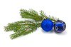 Fir branch with christmas baubles   Stock Foto
