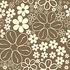 Vector clipart: White flowers on brown background