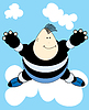 Vector clipart: Funny kid on cloud