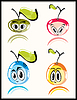 Vector clipart: Fresh funny fruits