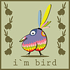 Vector clipart: Tropical bird on gray background