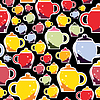 Vector clipart: Colorful cups - seamless pattern