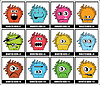 Vector clipart: Twelve colorful monsters