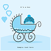 Vector clipart: Baby boy arrival card, vector