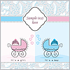 Vector clipart: two prams for girls and boys. cartoon  of p