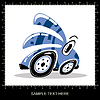 Blue funny cartoon car