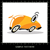 Vector clipart: Orange cartoon funny car