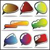 Vector clipart: Set of eight colorful speech and thought bubbles