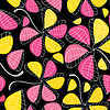 Vector clipart: Colorful leaves on black background - seamless pattern