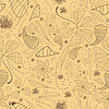 Vector clipart: Decorative seamless on brown background - pattern