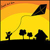 Vector clipart: Boy with kite flying in the countryside