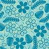 Vector clipart: Decorative white and blue leaves - seamless pattern