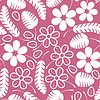 Vector clipart: Decorative white leaves and flowers on pink background
