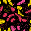 Vector clipart: Decorative colorful leaves on black background - seamles