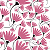 Vector clipart: Decorative pink flowers on white background - seamless