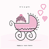 Vector clipart: Pink pram for girl. It`s girl!