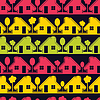 Colorful houses on black background