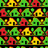 Vector clipart: Colorful houses on black background