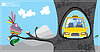 Vector clipart: picture with colorful bird and yellow taxi on tree