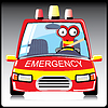 Vector clipart: Monster in emergency car