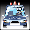 Vector clipart: Monster in police car